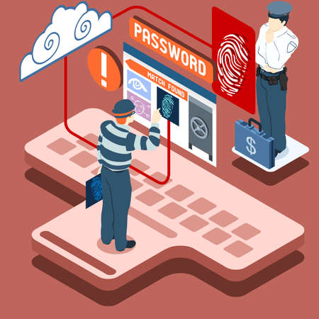 data theft: Detailed illustration of a Isometric Infographic Thief Biometric Recognition - Access Denied Illustration