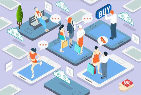 conectar: Ilustraci�n detallada de un Concepto isom�trica Personas Red Vectores
