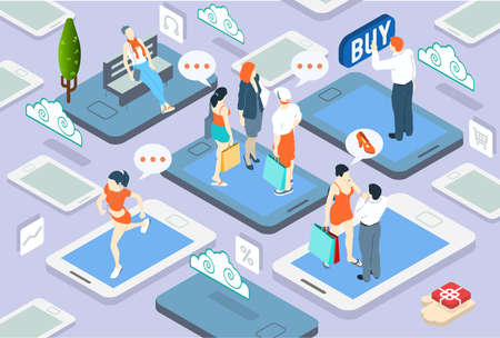 Detailed illustration of a Isometric People Network Concept