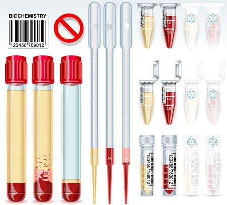 tubo de ensayo: Ilustración detallada de una prueba bioquímica juego completo