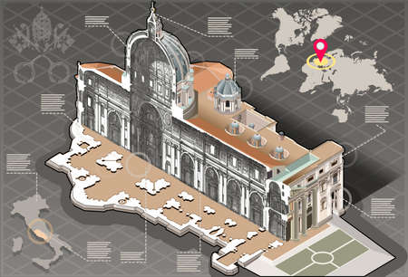basilica of saint peter: Detailed illustration of a Isometric Infographic of Saint Peter in Rome Centre Section