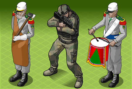 kepi: Detailed illustration of a  Isometric Foreign Legion Militar People
