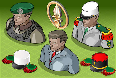 Detailed illustration of a  Isometric Foreign Legion Militar People