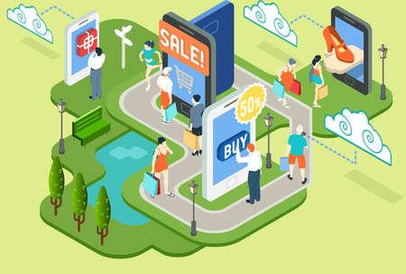 等尺性仮想ショッピングの概念の詳細なイラスト  イラスト・ベクター素材
