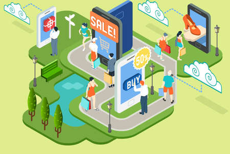 Gedetailleerde illustratie van een isometrische Virtual Shopping Concept Stock Illustratie