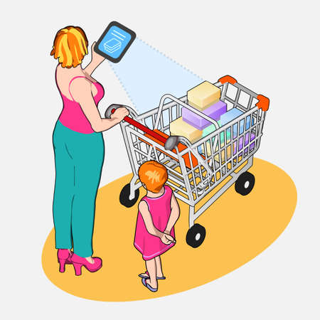 woman tablet: Detailed illustration of Isometric Internet of Things - Woman with Full Shopping Cart and Tablet Device