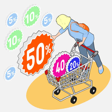 full shopping cart: Detailed illustration of Isometric Grocery Shopping - Sale - Woman Collecting Discounts with Full Shopping Cart Illustration