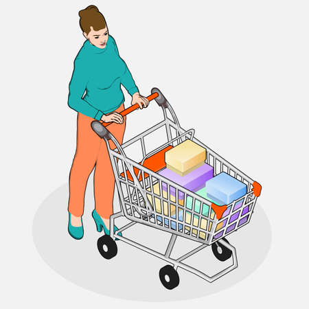 grocery shopping: Detailed illustration of Isometric Grocery Shopping - Walking Woman with Empty Shopping Cart