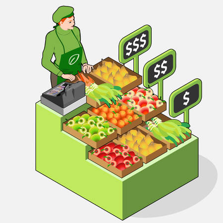 Detailed illustration of a Isometric Greengrocer Shop - Woman Owner - Front View Standing People