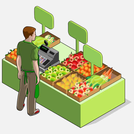 greengrocer: Detailed illustration of a Isometric Greengrocer Shop - Man Owner - Rear View Standing People Illustration