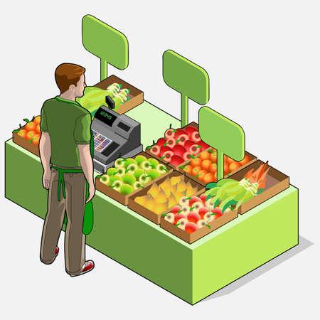 greengrocer: Ilustraci�n detallada de un isom�trico Fruter�a Shop - Hombre Propietario - visi�n trasera Estar de pie