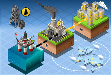 Detailed illustration of a Isometric Infographic Petroleum Rig Energy Diagram