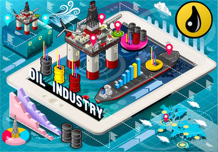 oil refinery: Detailed illustration of a Isometric Infographic Rig Energy Set on Tablet Illustration