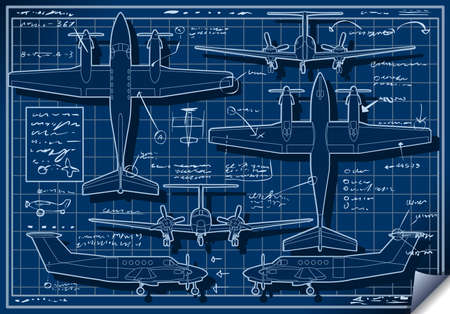 airscrew: Detailed illustration of a Infographic Airplane Blue Print Project