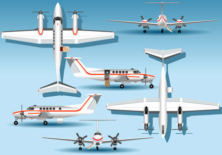 airplane ultralight: Detailed illustration of a Orthogonal Views of a Landed Airplane