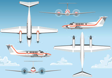 air force: Detailed illustration of a Orthogonal Views of a Flying Airplane