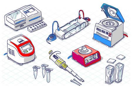 Gedetailleerde illustratie van een isometrisch Sketch - Moleculaire Biologie - Laboratorium Set Stock Illustratie
