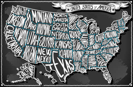 america map: Detailed illustration of a United States of America on Vintage Handwriting BlackBoard Illustration