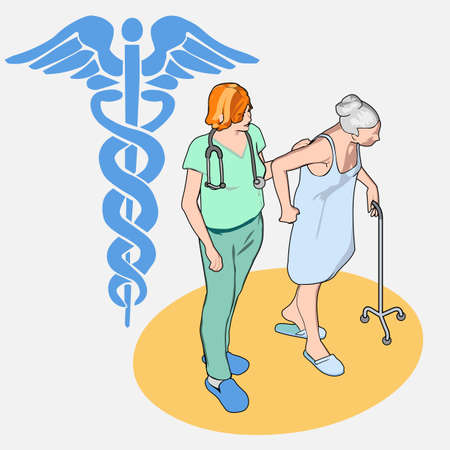 nurse home: Detailed illustration of a Isometric Healthcare People Set - Senior Patient and Nurse