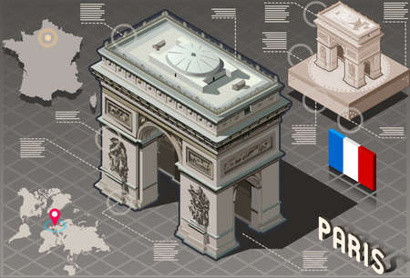 arc de triomphe: Detailed illustration of a Isometric Infographic Arc de Triomphe in Paris - HD Quality