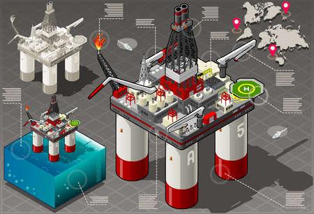 mineria: Ilustraci�n detallada de un isom�trico Infograf�a Set Rig Energ�a