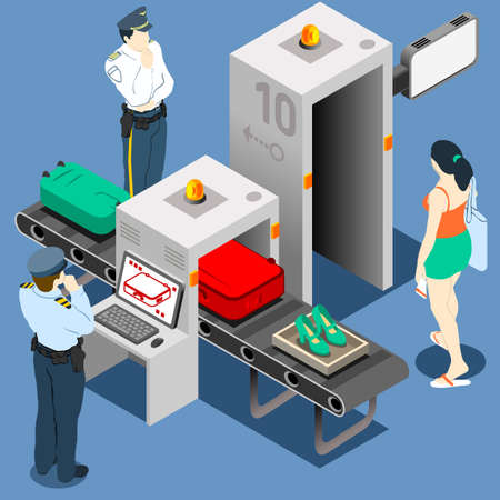 gente aeropuerto: Isométrico Seguridad Checkpoint Machine
