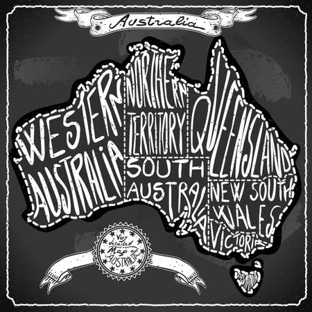 australia: Australia Map on Vintage Handwriting BlackBoard Illustration
