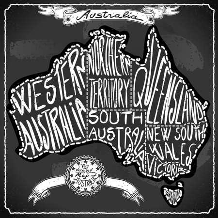 Australia Map on Vintage Handwriting BlackBoard Illustration