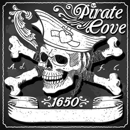 Black Pirate Cove Flag - Jolly Roger  イラスト・ベクター素材