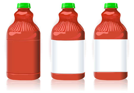 generic: Three Red Plastic Bottles with Generic Labels