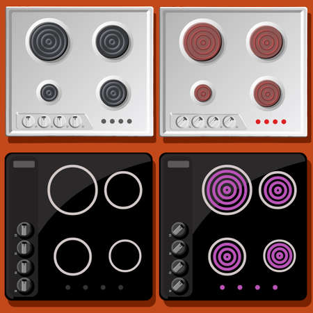 kitchen range: Induction and Electric Cooker Switched On and Off in Front View Illustration