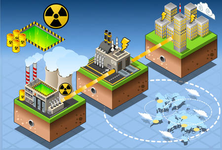 atomic: Isometric Infographic Atomic Energy Harvesting Diagram Illustration