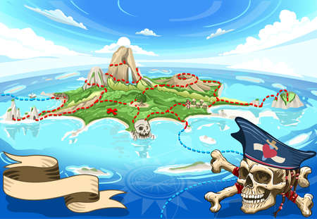 Pirate Island Cove - Treasure Map Banque d'images - 38613953