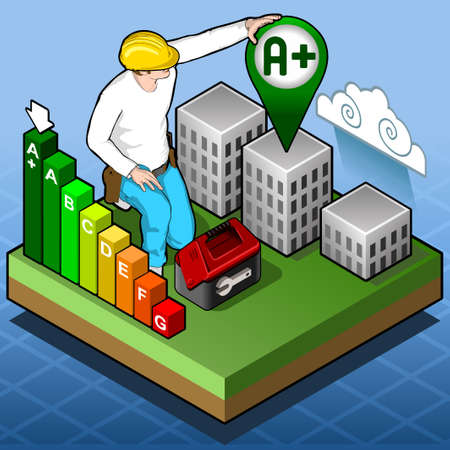 advances: Isometric Infographic Energy Performance Certification Illustration