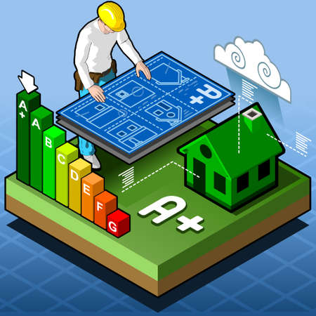 energy performance certificate: Isometric Infographic Energy Performance Certification Illustration