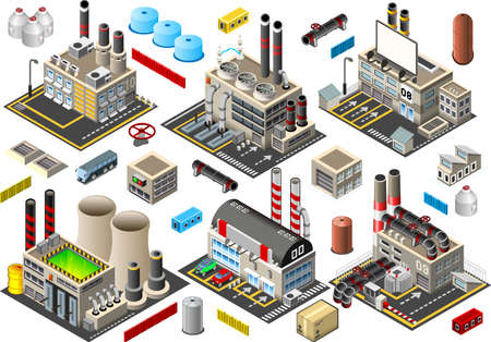 Isometric Building Factory Set
