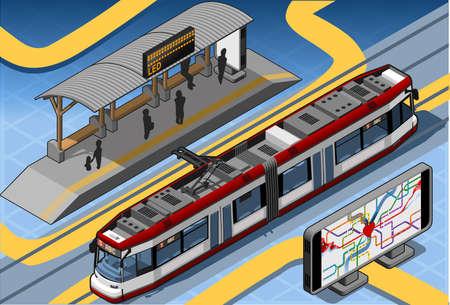 Isometric Subway Near Platform Roof and Underground Map