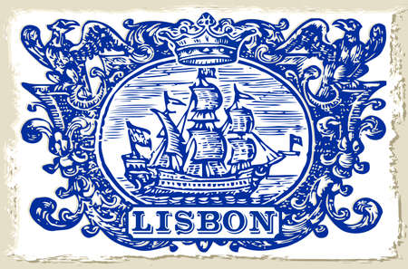 galleon: Detailed Traditional Tiles Azulejos Lisbon, Portugal