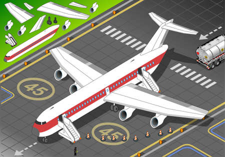 landed: Isometric White Airplane Landed in Front View - Ready for a New Flight