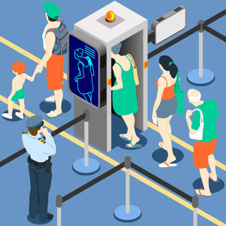 Isometric Queue at Security Checkpoint - Body Scan Machine - Airport Check In