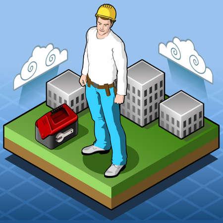 home builder: Isometric Infographic Isometric Infographic Hard Hat - Home Builder with Tool Box - Tile