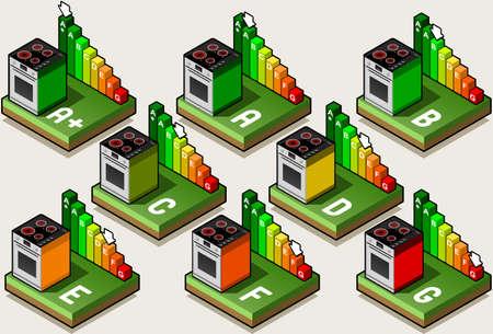 electrical appliance: Isom�trico Electrical Appliance Energ�a de la UE etiqueta - Clases Horno Energ�a de la A a la G plus