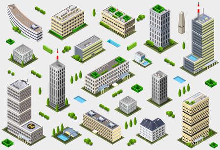 arquitectura: Isométrico Megalópolis Edificio Colección - Cuentos Ciudad Juego Set Vectores
