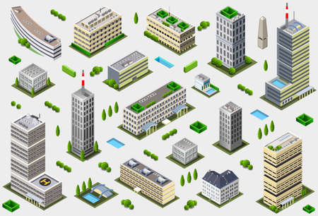 architecture and buildings: Isometric Megalopolis Building Collection - City Game Tales Set