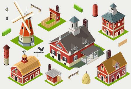 old barn: Isometric Old Barn Wood Set Tiles - Views of American Liberty Building Illustration
