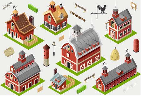 red barn: Isometric Historic Barn Set Tiles - Axonometric Views of American Liberty Building