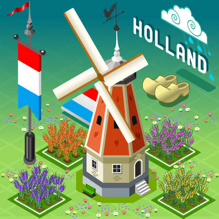 dutch tiles: Isometric Old Windmill - Holland Building Illustration