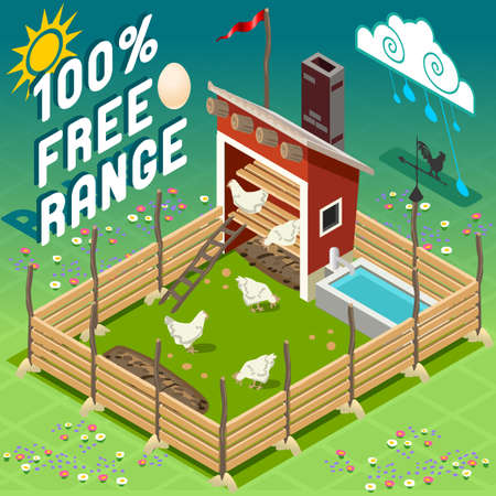 set free: Isometric American Old Barn Wood - Henhouse with Chicken - Free Range Farming