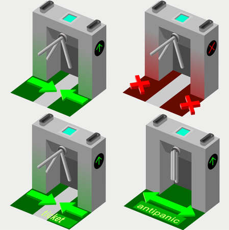 Isometric Tripod Gate in Four Conditions - Opened and Closed Vektoros illusztráció