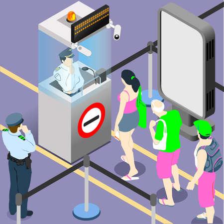 人々 キュー空港旅客セキュリティ パスポート コントロール。フラット 3次元等尺性インフォ グラフィック Web 概念ベクトル。デューティ ゲート チ